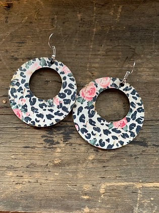 Snow Leopard and Rose Cork and Leather Hoop Earrings