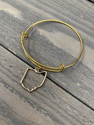 Gold Ohio Cutout Bangle Bracelet