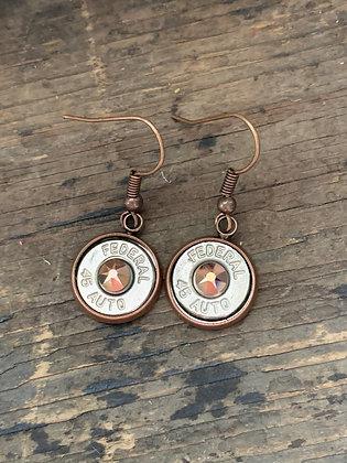 Copper 45 caliber rose gold drop bullet earrings
