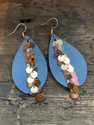Denim Blue Leather Earrings with Gold Coin Chain