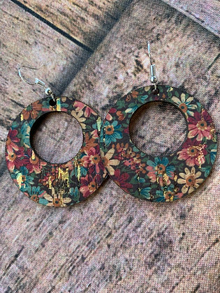 Floral with gold fleck Round Cork Leather Earring