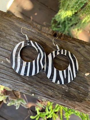 Zebra Animal Print Cork Hoop Earring