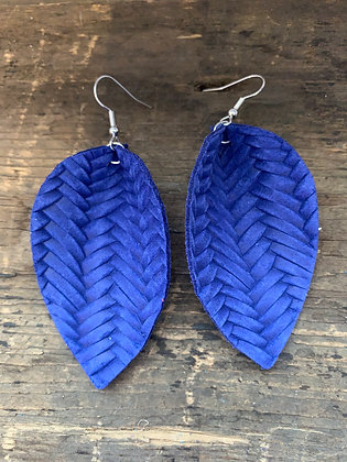 Lapis Blue Braided Leather Earrings