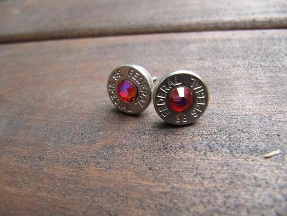 Bullet Earrings- 38 Caliber Red Swarovski