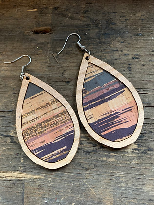 Blue and Pink Brush Stroke Cork Stripe Wood Teardrop Earrings