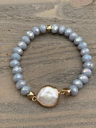 Grey Crystal Pearl Stretch Bracelet