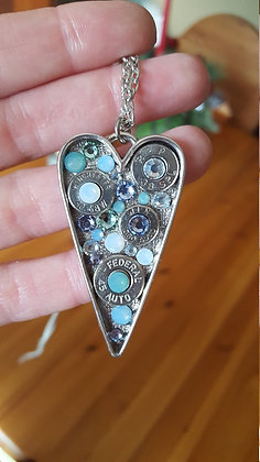 Bullet Long Heart Necklace- Blue