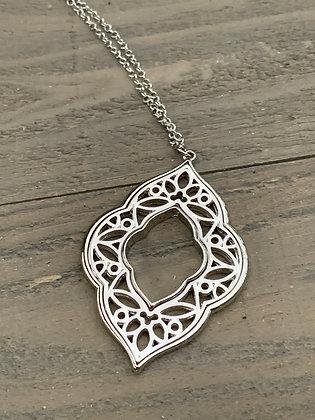 Silver quatrefoil long necklace