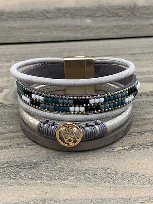 Grey Black and Teal Magnetic Bracelet