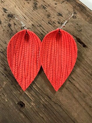 Coral palm leaf textured leather earring