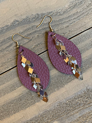 Plum Purple Leather Earrings with Silver Diamond Chain