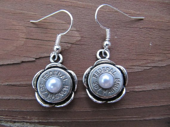 Bullet Earrings-357 Pearl Accent Dangle