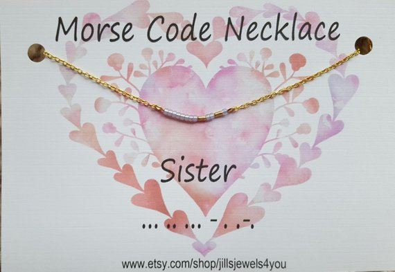 Morse Code Necklace- Sister