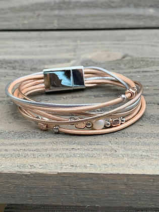 Rose gold and silver Beaded Magnetic Bracelet