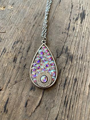 Aurora Borealis Teardrop 45 Auto Necklace
