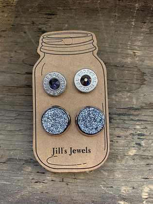 Grey Druzy and 38 Special bullet earring set