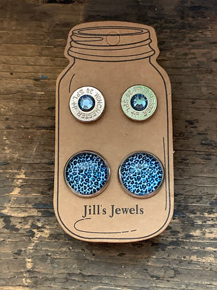 Blue Leopard Print and 38 Special bullet earring set