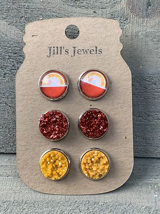 Orange Fall Rainbow Faux Druzy Earring 3 Set