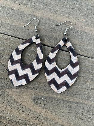 Black and White Chevron Cork Teardrop Earring