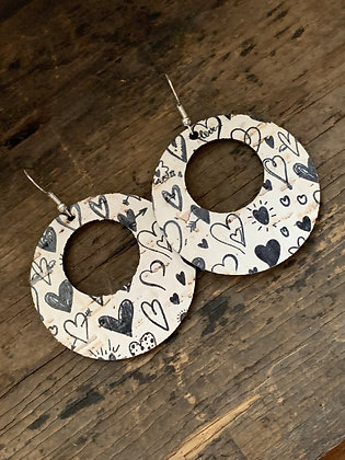 Black and White Hearts Cork Hoop Earring
