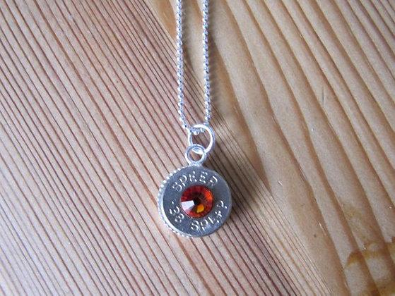 38 Special Bullet Necklace w/ Fire Opal Swarovsk