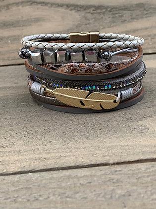 Grey Beaded Feather Magnetic Bracelet