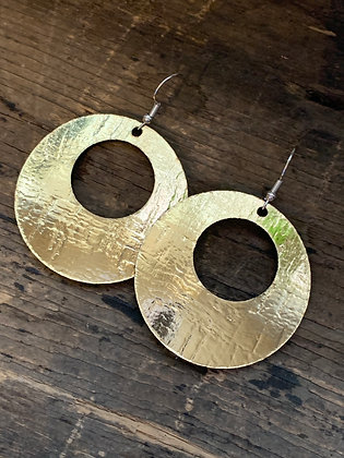 Metallic Gold Cork Hoop Earring