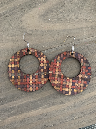 Multi Colored Weave Round Cork Leather Earring