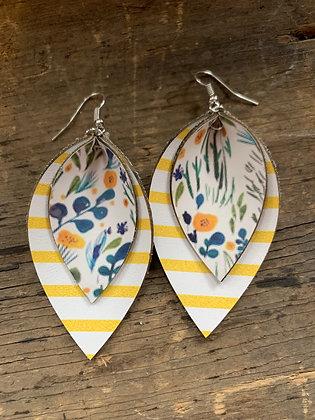 Yellow Floral Stripe Earrings