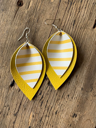 Yellow Leather earrings with white stripes