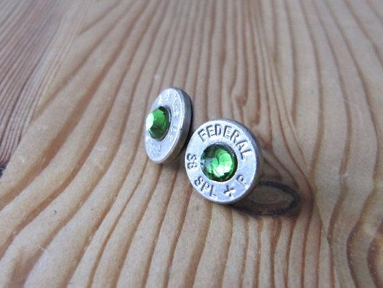 Bullet Earrings- 38 Caliber Green Swarovski