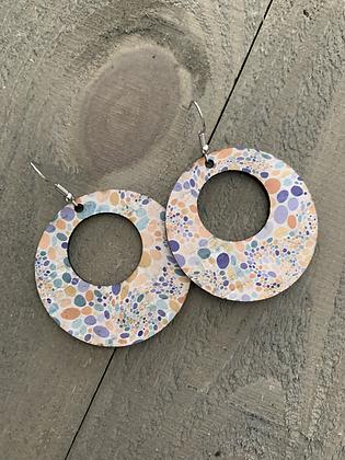 Pastel Pebble Cork Hoop Earring