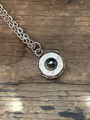 45 Auto Jet Black Bullet Necklace with Filigree Detail