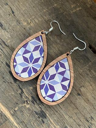 Blue Cork Kaleidoscope Wood Teardrop Earrings