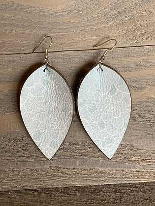Mint Succulent Leather Earrings