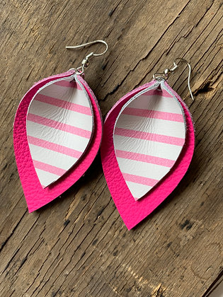 Hot Pink Leather earrings with white stripe