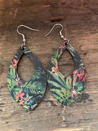 Tropical Print Cork Teardrop Earring