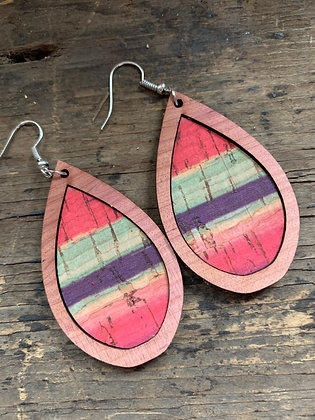 Coral Pink Purple and Green Stripe Wood Teardrop Earrings