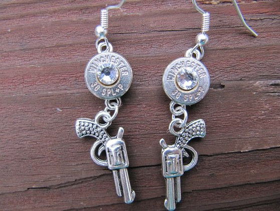 Bullet Earrings- 38 Special with Pistol Charm