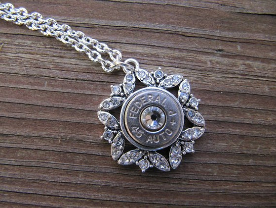 45 Bullet Necklace with Rhinestones and Swarovski