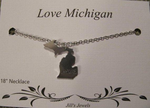 Love Michigan Home Necklace
