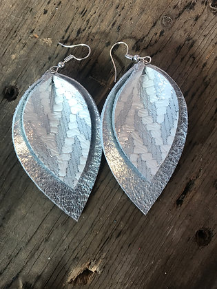 Silver chevron leather earrings