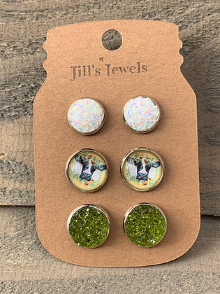 Sunflower Cow White and Green Faux Druzy Earring 3 Set