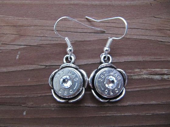 Bullet Earrings- 357 Floral with Crystal Accent