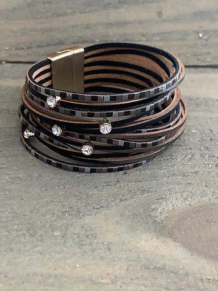 Black and Grey Tiled Leather Magnetic Bracelet