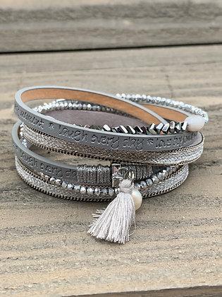 Silver Crystal Double Wrap Magnetic Bracelet