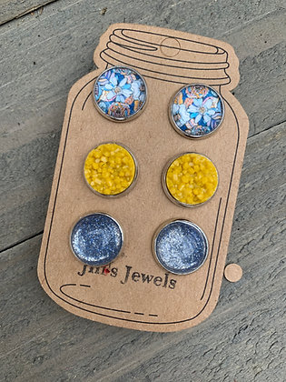 Blue and Mustard Yellow Floral Faux Druzy Earring 3 Set