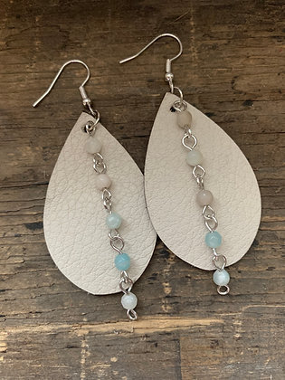 Cream Leather Earrings with Mint Gemstone Chain