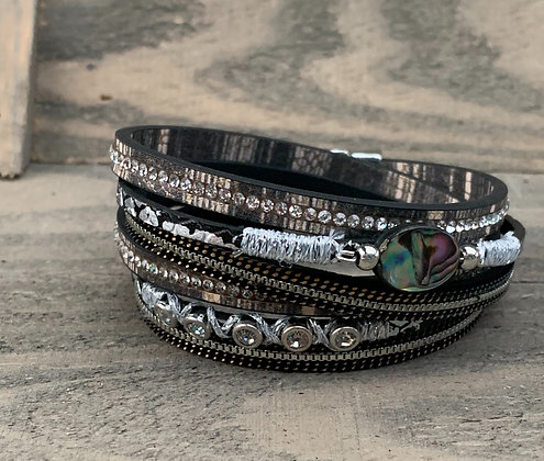 Silver and Grey Abalone Double Wrap Magnetic Bracelet
