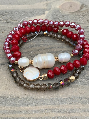 Silver, Red and Pearl Triple Stacked Stretch Bracelet Set